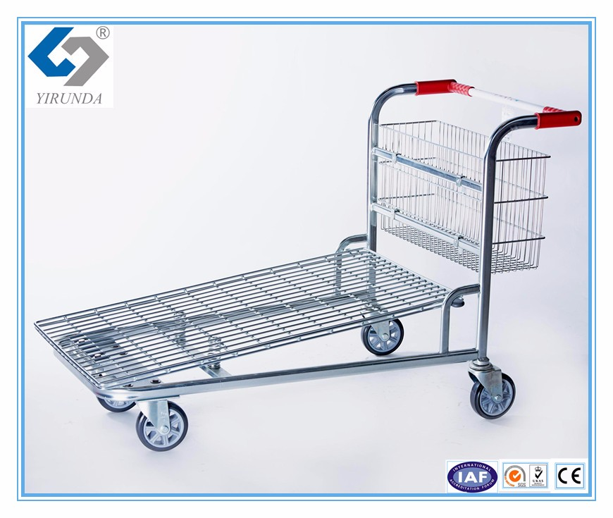 high quality 4 wheels supermarket metal shopping trolleys