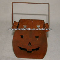 Halloween rusty metal pumpkin candle lantern with handle