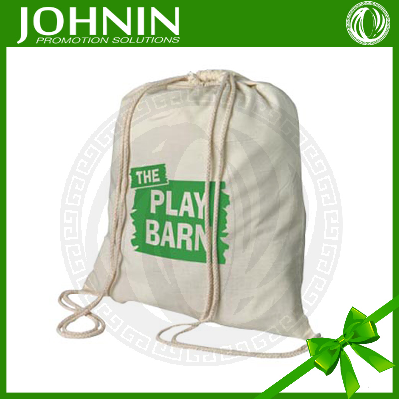 Custom Beige Cotton Printed Logo Promotional Cotton Bag