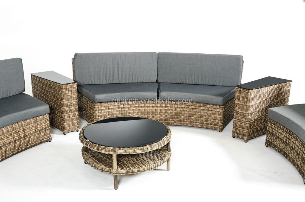088 Elegant Beige High Quality Round Rattan Curved Balcony Couch Resin Wicker Outdoor Furniture
