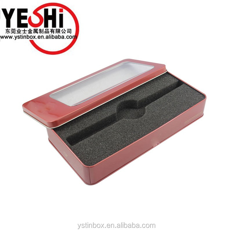plain tin watch box gift package with clear plastc PVC lid