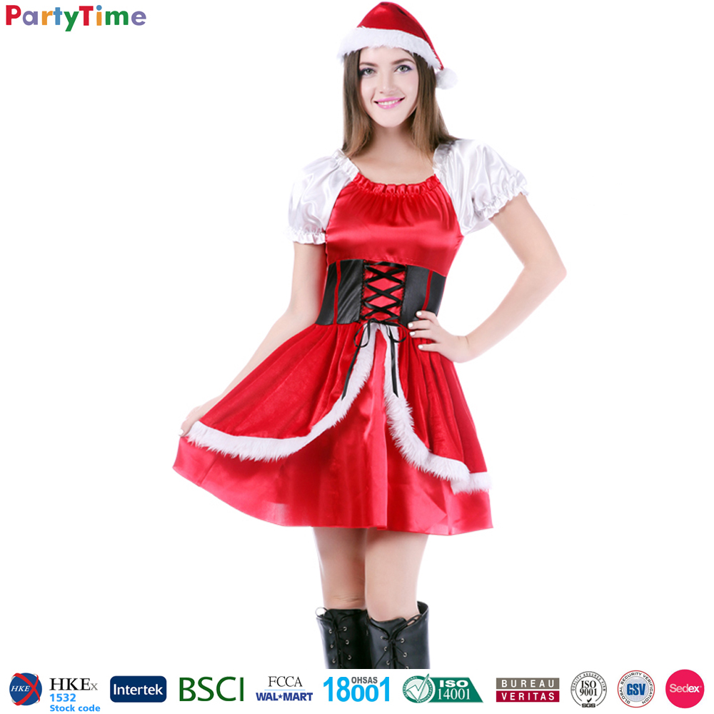 girls christmas party costume wholesale factory santa claus costume christmas for sexy women