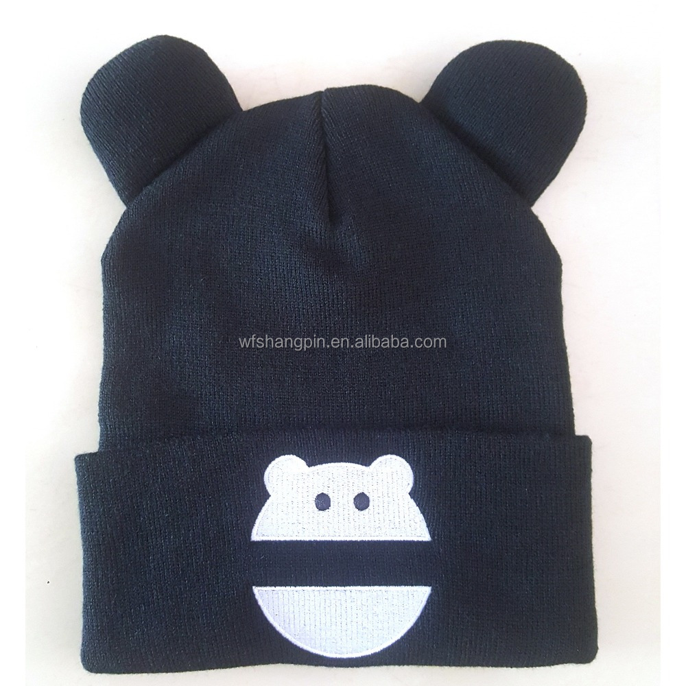 Children Funny Cartoon Pattern Style and Common Fabric Feature Winter Snow Hat Two Corns Cartoon Beanie Cap