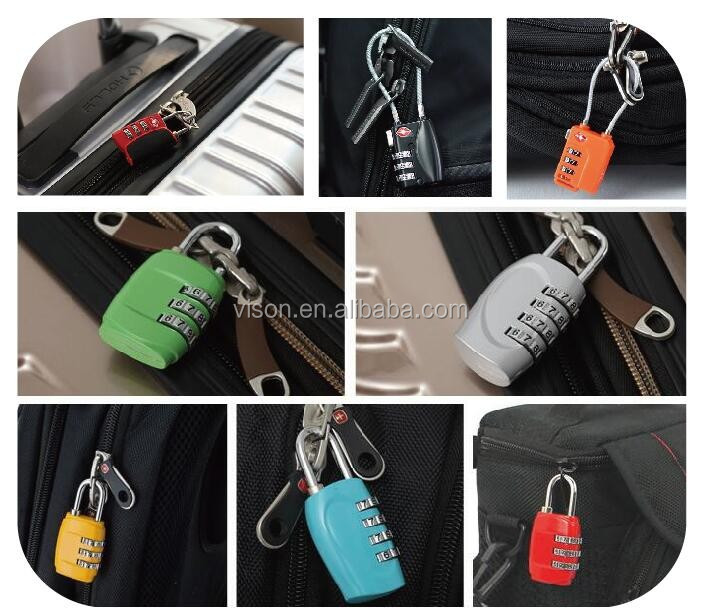 ABS housing luggage padlock with key tsa approved travel lock