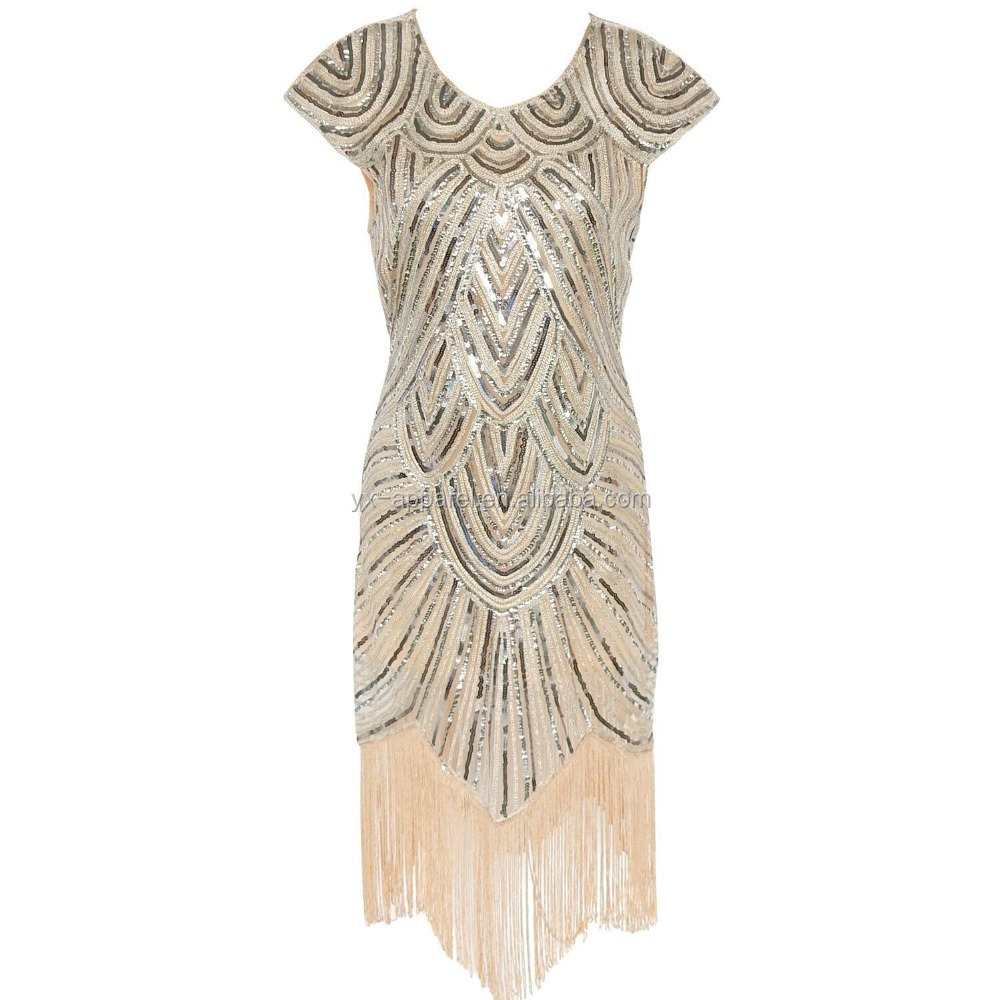 1920s gatsby sequin embellished fringe vintage great gatsby costume flapper dress