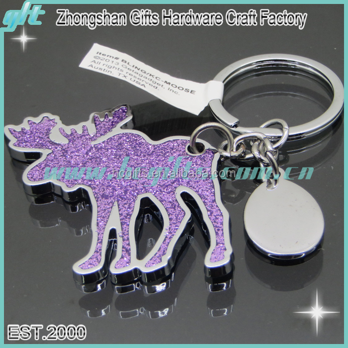 Free proof design most professional custom made silver metal enamel glitter moose keychain