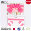 Low price fancy pink ribbon flower baby wide plastic headbands
