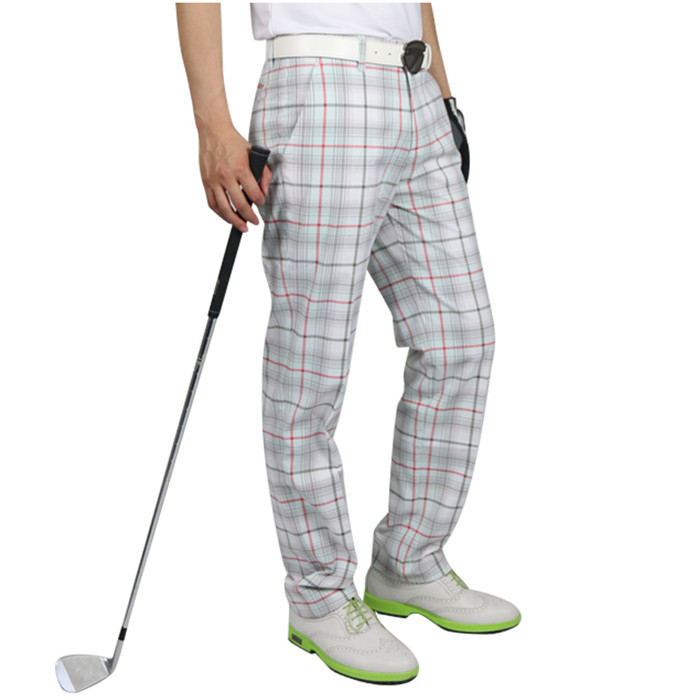 High quality custom dri fit plaid mens golf pants wholesale