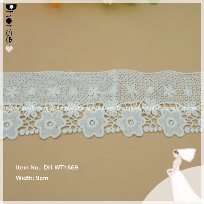 9cm width fancy flower embroidery cotton battenburg lace trim DH-WT1669