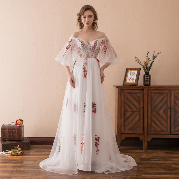 dffdc1c0ecb Sexy Elegant Prom Dress 2018 Off Shoulder Long Tulle Gown With Colorful  Lace Appliques