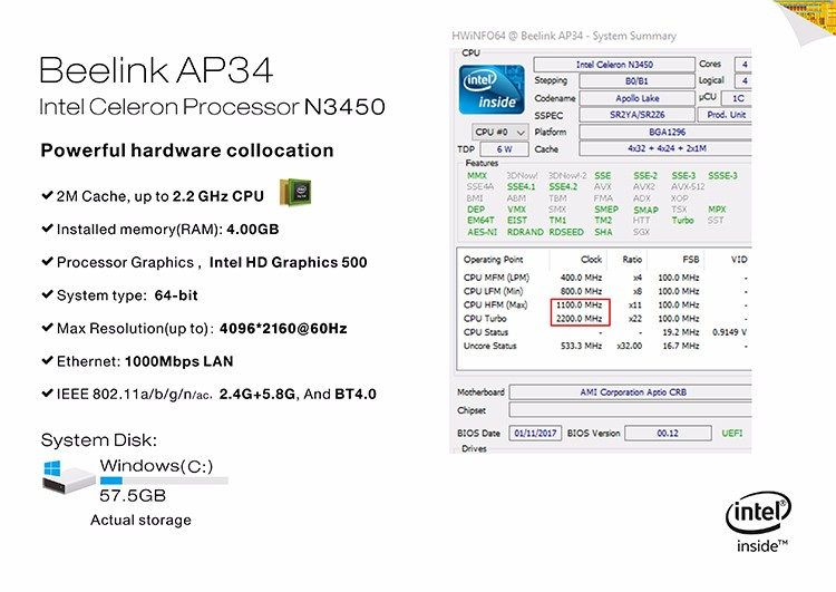 1Chip Best MINI PC Beelink AP34 MINI PC with Win10 Linux dual OS