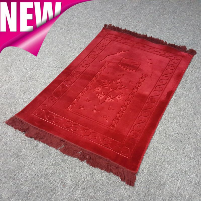 islamic prayer mat very thin muslim namaz sajadah kaba stone creme light pink