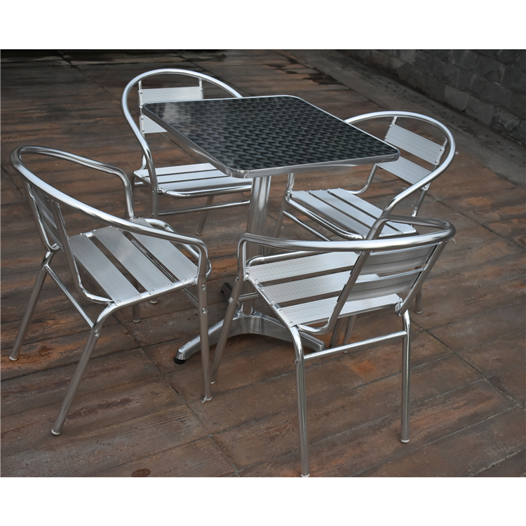 stainless steel frame outdoor furniture dining table and chairs restaurant exterieur bar table chairs
