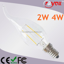 e14 e12 electric flickering candle light, 2w 4w flickering led flame candle, warm white candle led bulb for decoration