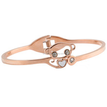 2017 New style clever monkey love heart rose gold plated stainless steel bangle for girls