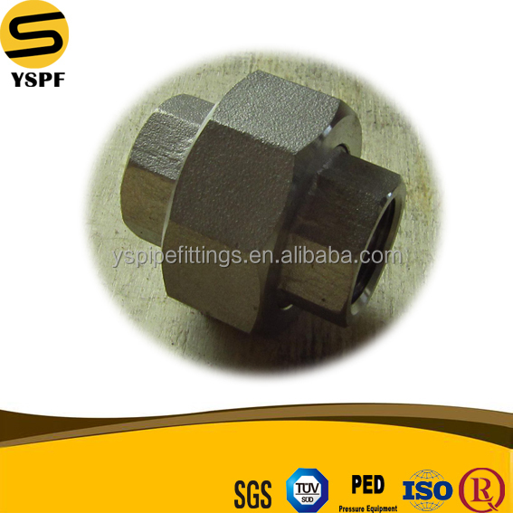high quality stainless steel pipe fittings forged union npt material A182 F316 MSS SP 83 thread union