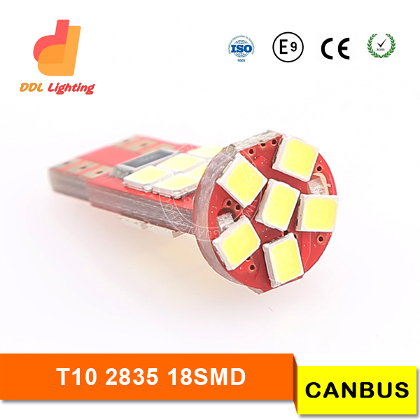 360-degree led t10 canbus, 18-SMD-2835 2825 W5W t10 led bulb canbus w/ Built-in Load Resistors For European Cars, canbus t10