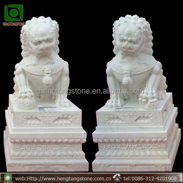 large white marble stone foo dogs