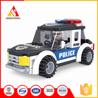 Hot selling super mini building block police children motor car toy