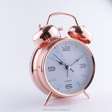 2018 New RUISUNG Two Bell Rose Gold Metal Table Clock Themes World Time Clock Quartz Clock Movements With Light