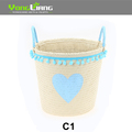 Paper Cloth Storage Basket Round Shape Storage Basket With Heart