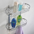 stainless steel bathroom rack double shelf with towel hook 8812