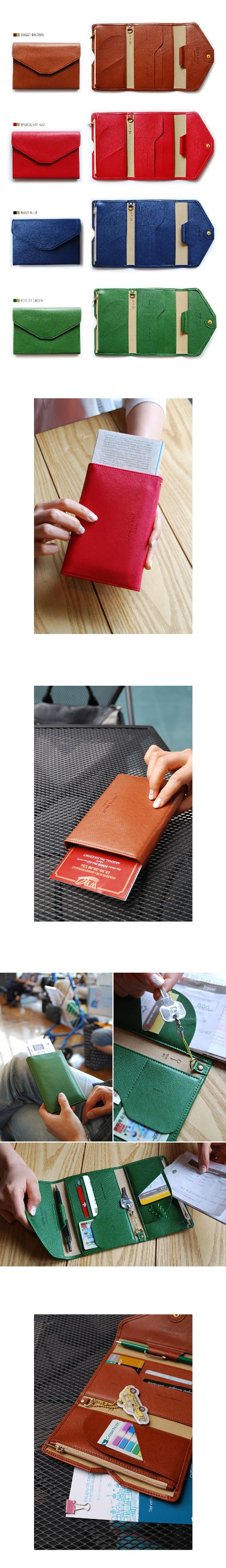 fashion leather cover for passport with multiple pocket