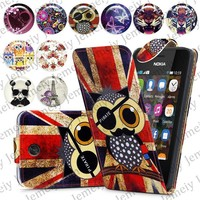 Fashion Patterns Printed Magnetic Top Flip PU Leather Case Card Holder Wallet Phone Cover Skin For Nokia Asha 501