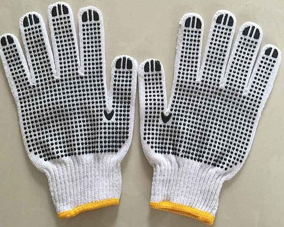 Brand MHR 7/10 Gauge Natural White Cotton with PVC Palm Dotted Safety Hand Gloves