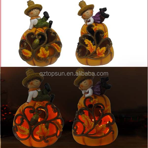 Thanksgiving decoration resin scarecrow figurine led solar lighting