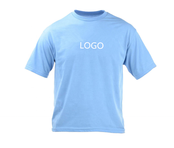 Solid color simple style o neck t shirt light blue leisure sports t shirt for men