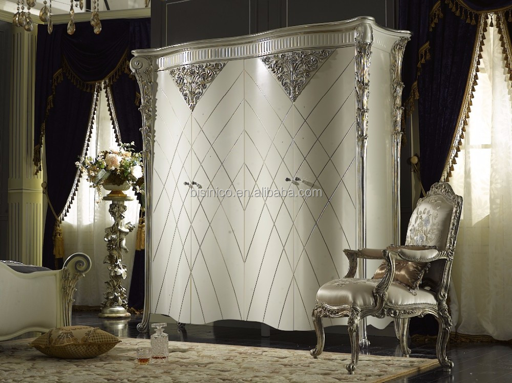 Ancient Rome Style Luxury Designed Four Doors Wardrobe, Exquisite Fine Carved Silver Flower and Leave Decorated Wardrobe
