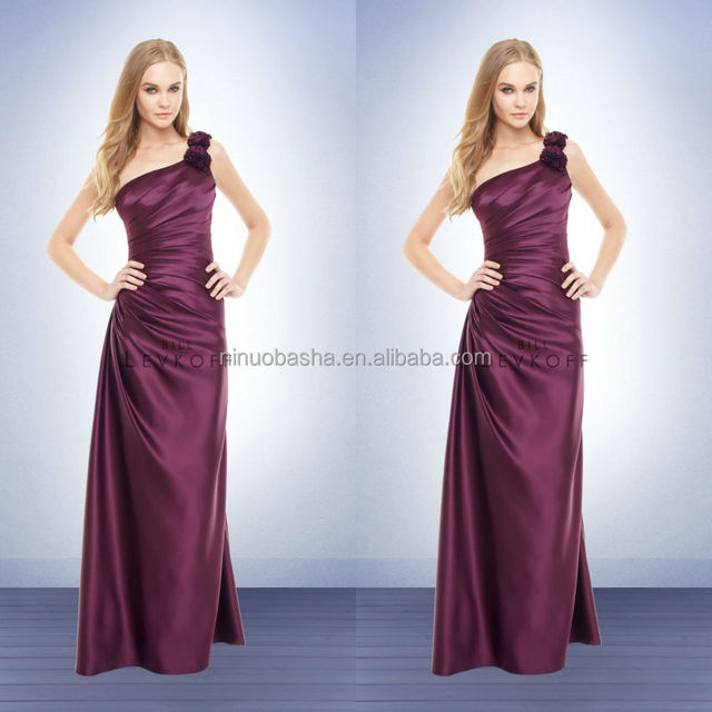 Hot Sale Wine Long Bridesmaid Dress 2014 One-Shoulder Full-length Sheath Satin Prom Gown With Asymmetrical Pleat&Flower NB0733
