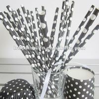 Halloween Black and white Polka Dot Paper drinking Straws