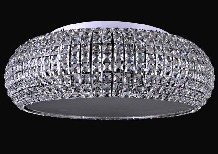 Round modern crystal ceiling lamp