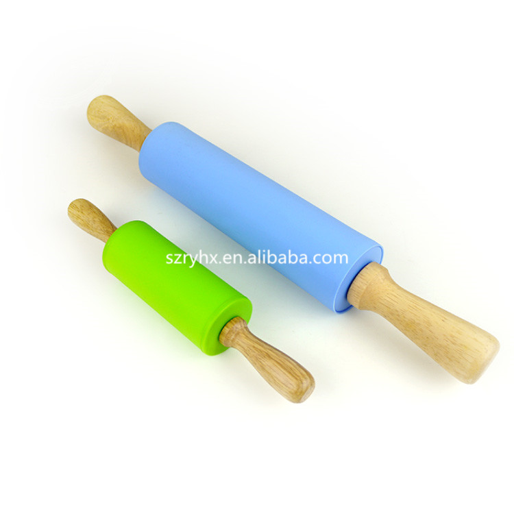 Silicone and Stainless Steel Handle Rolling Pin/Non Stick Fondant Tool