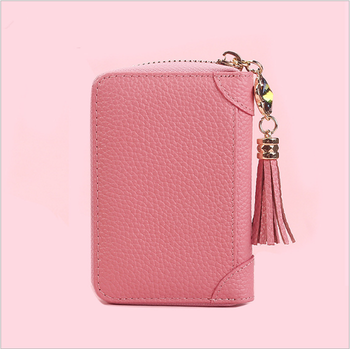 Real Leather Zipper Card Holder Small Lady's Credit Card Bag