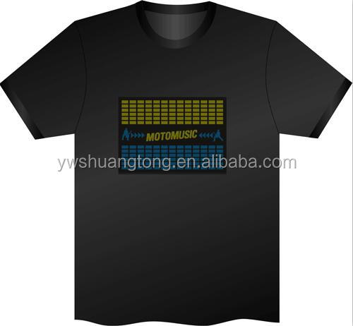 promotional t shirt with print el glow t shirt merry holiday custom led t shirt