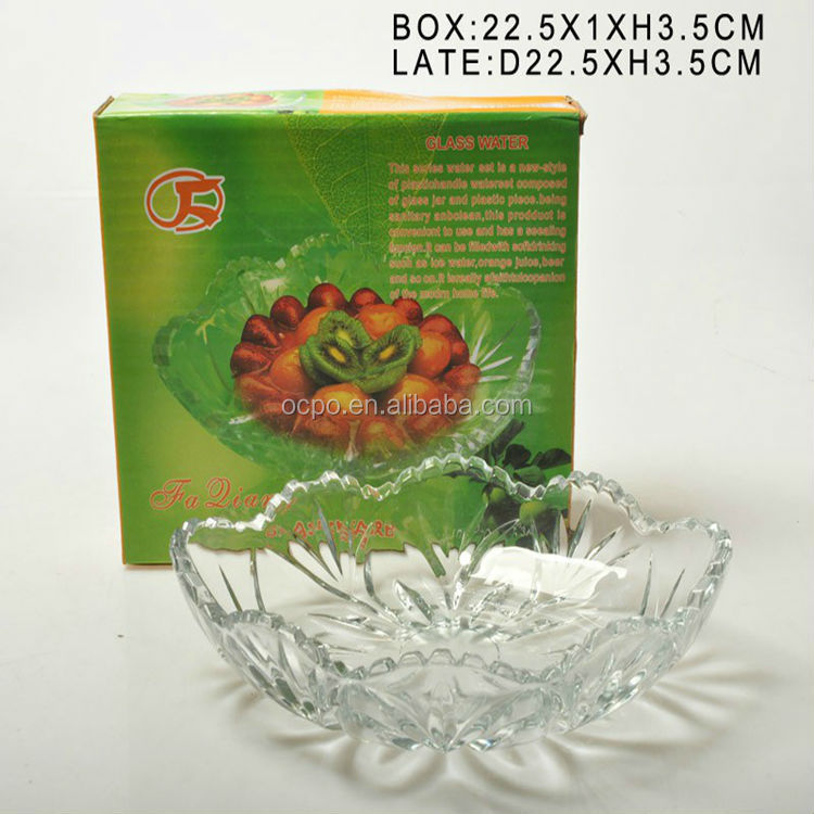 promotion clear glass plate with flower design cheap
