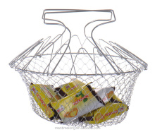 Foldable Steam Rinse Strain Fry Basket Magic Basket Mesh Basket Strainer Net Kitchen Cooking Tool