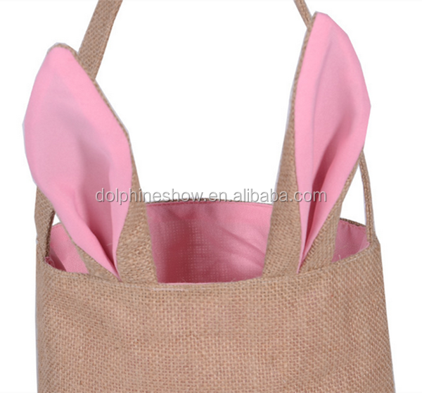 In stock cotton canvas tote bag wholesale cute easter bunny reusable linen foldable polyester shopping bag