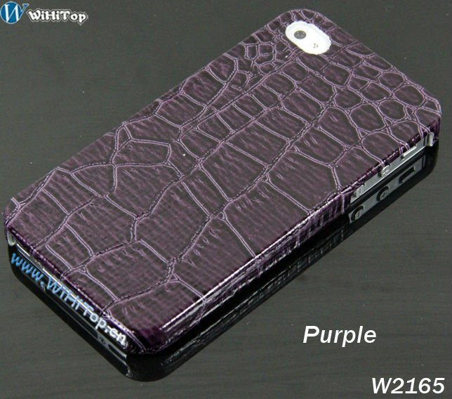 For iPhone 4 / 4s Crocodile Leather skin Plastic Case