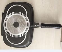 Aluminum die cast die-cast double frying grill pan with induction bottom