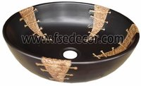 Round Bathroom Counter Top Painted Ceramic Basins