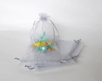 Cheap drawstring gray see through fabric silvery organza sweet favour bag