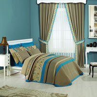 High quality bedding sets match plain polyester window curtains for Taiwan online shop