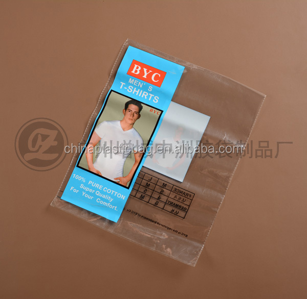 factory whoelesale clear opp plastic bag with self adhesive strip for mens wear made in china