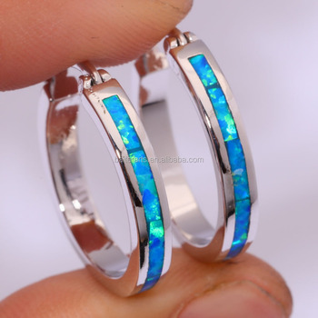 Pretty party Fashion Girls and Women Blue White Fire Opal Inlay Large Hoop Earrings