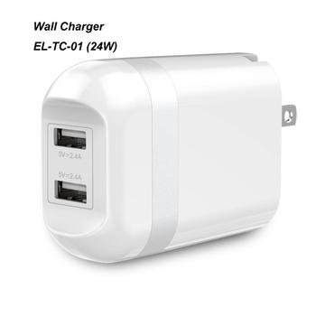Foldable AC Plug Wall Charger 4.8A 24W Dual Universal USB Travel Charger