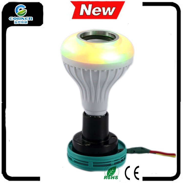 Smart Wireless E27 with IR remote control colored flash light bluetooth led speaker RGB bulb for playing music